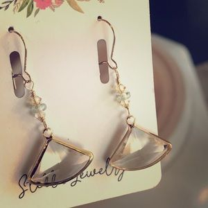Cute fan earrings with Swarovski crystals